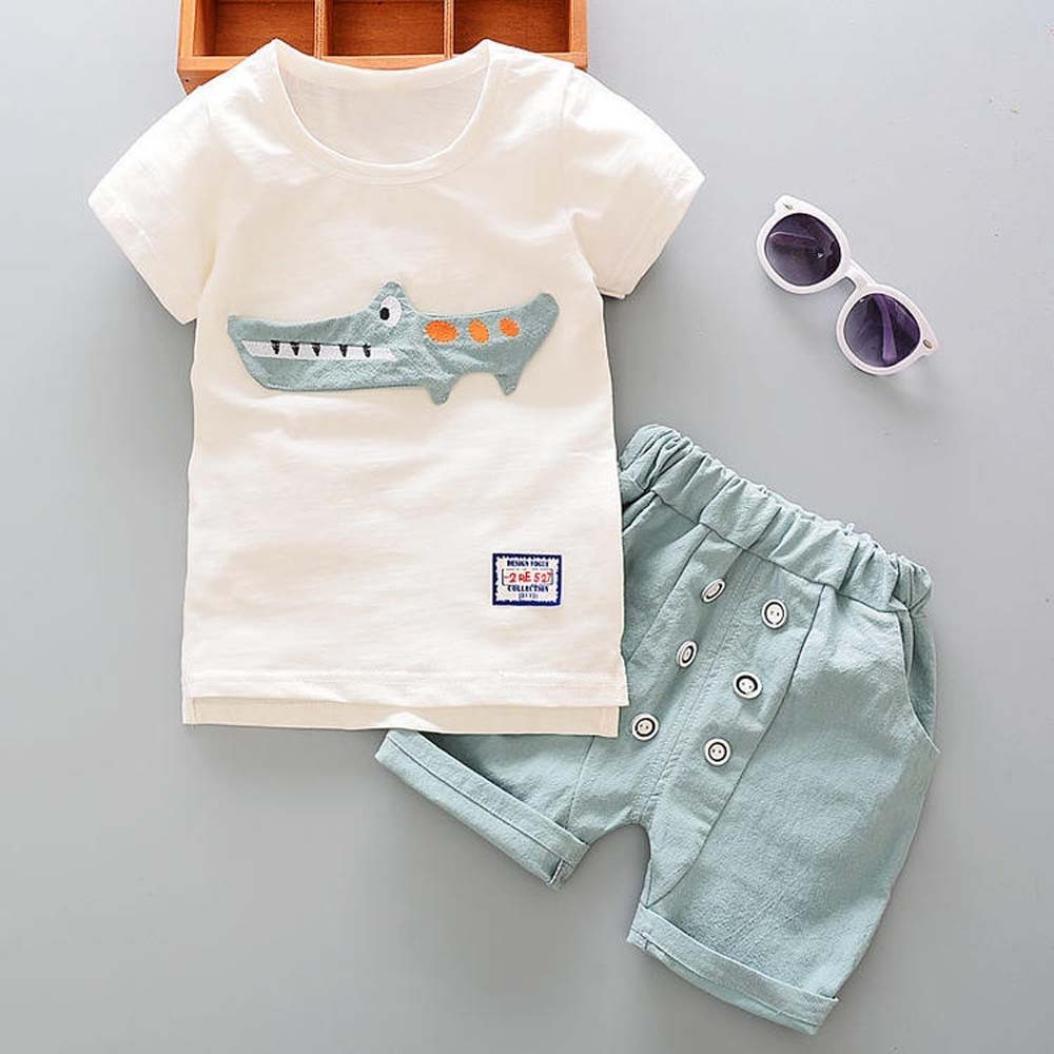 Conjunto Beb/é Verano Reci/én Nacido Infantil Beb/é Ni/ño Ni/ña Dibujos Animados Tops Camisas Camiseta Chaleco y Pantalones Cortos Conjuntos de Ropa Trajes