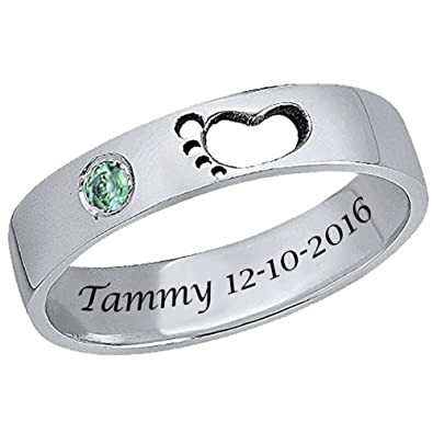 e143e3fbbe7e2 Ouslier 925 Sterling Silver Personalized Birthstone Baby Feet Ring Custom  Made with Name and Date