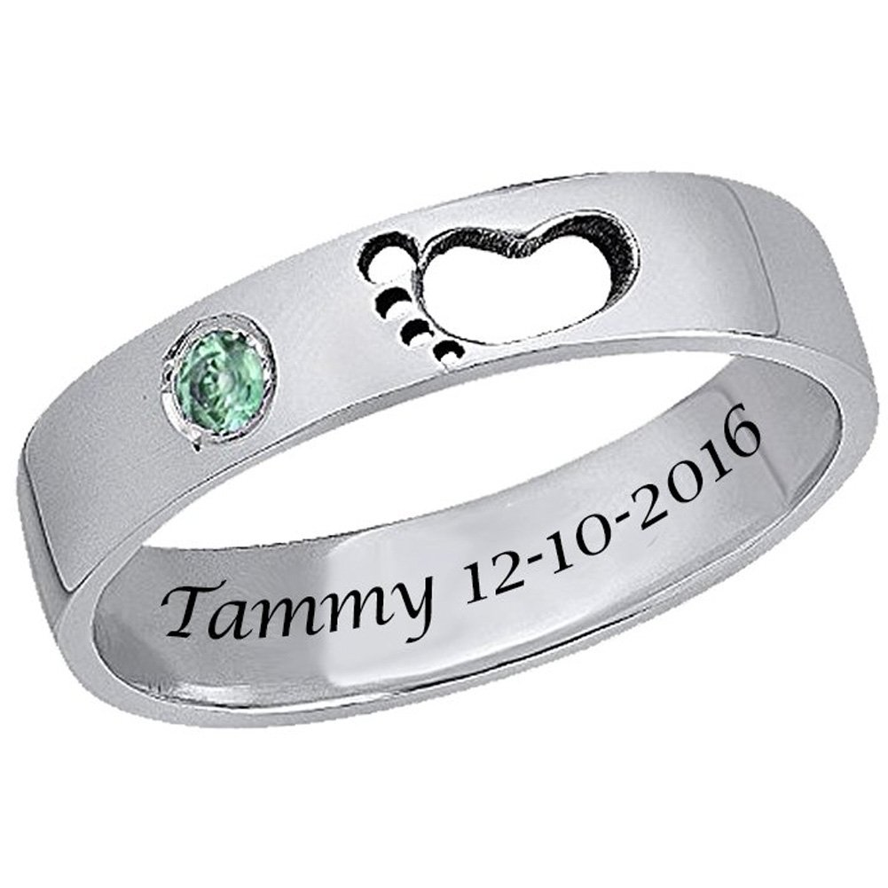 925 Sterling Silver Personalized Birthstone Baby Footprint Name Ring Custom Made with Name and Date (Silver)