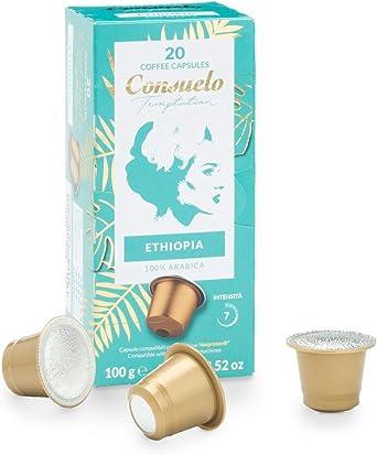 Consuelo - Cápsulas de café de Etiopía compatibles con cafetera Nespresso*, 100 unidades (5 cajas de 20 cápsulas): Amazon.es: Alimentación y bebidas