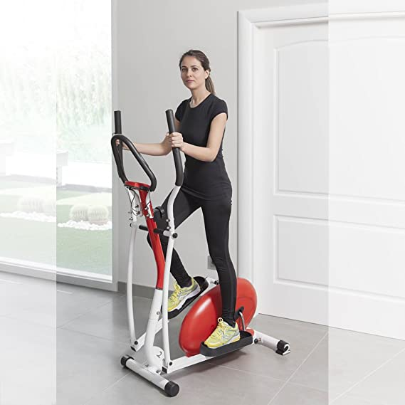 Novohogar Bicicleta elíptica Newpower con Sistema magnético, Pantalla LCD, función SCAN y medición del Pulso en el Manillar Que Proporciona Objetivos para ...