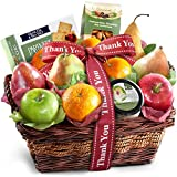 Golden State Fruit Thank You Fruit Basket with Cheese and Nuts