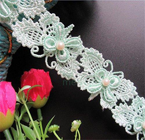 - 2 Yard Butterfly Pearl Lace Edge Trim Ribbon 6×3 cm Width Vintage Style Green Edging Trimmings Fabric Embroidered Applique Sewing Craft Wedding Dress Embellishment DIY Decor Clothes Embroidery