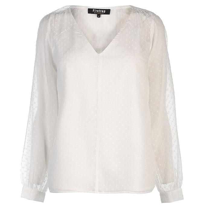 Firetrap Mujer Peasant Blusa Top Variedad De Blanco XS (EU 36/UK 8)