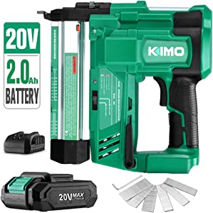 KIMO 20V 18 Gauge Cordless Brad Nailer/Stapler Kit, 2 in 1 Cordless Nail/Staple Gun w/Lithium-Ion Battery&Fast Charger, 18GA Nails/Staples, Single or Contact Firing for Home Improvement, Woodworking