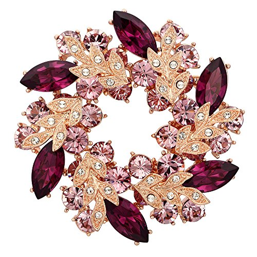 (Kemstone Rose Gold Plated Cubic Zirconia Flower Brooch Pin for Women (Flower, Purple))