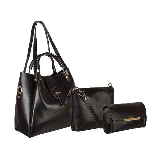 321fa64f8 Levise London Women s Handbag Combo of 3   Sling Bag   Clutch Black ...