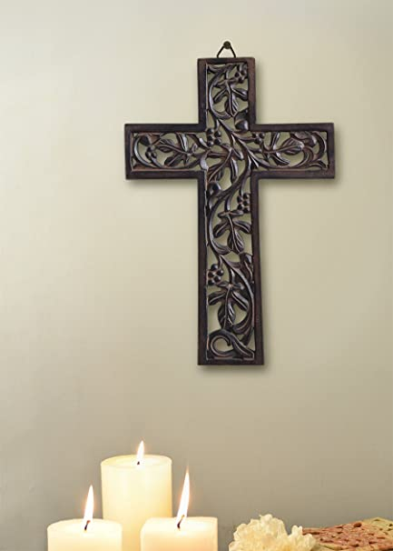 gifts wooden wall cross plaque 29 cm long hanging with hand carved floral design religious altar - Wooden Altar And Home Design