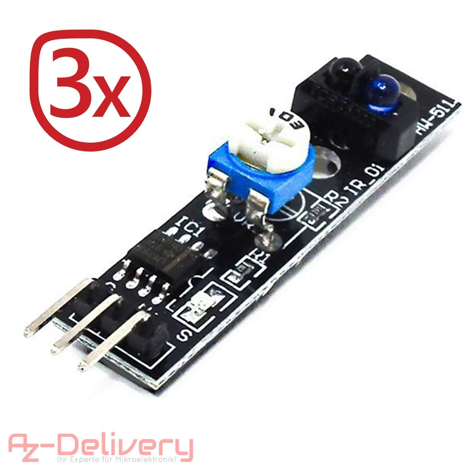 AZDelivery ⭐⭐⭐⭐⭐ 3 x Line Follower TCRT5000 Line Tracking Sensor Module for Arduino