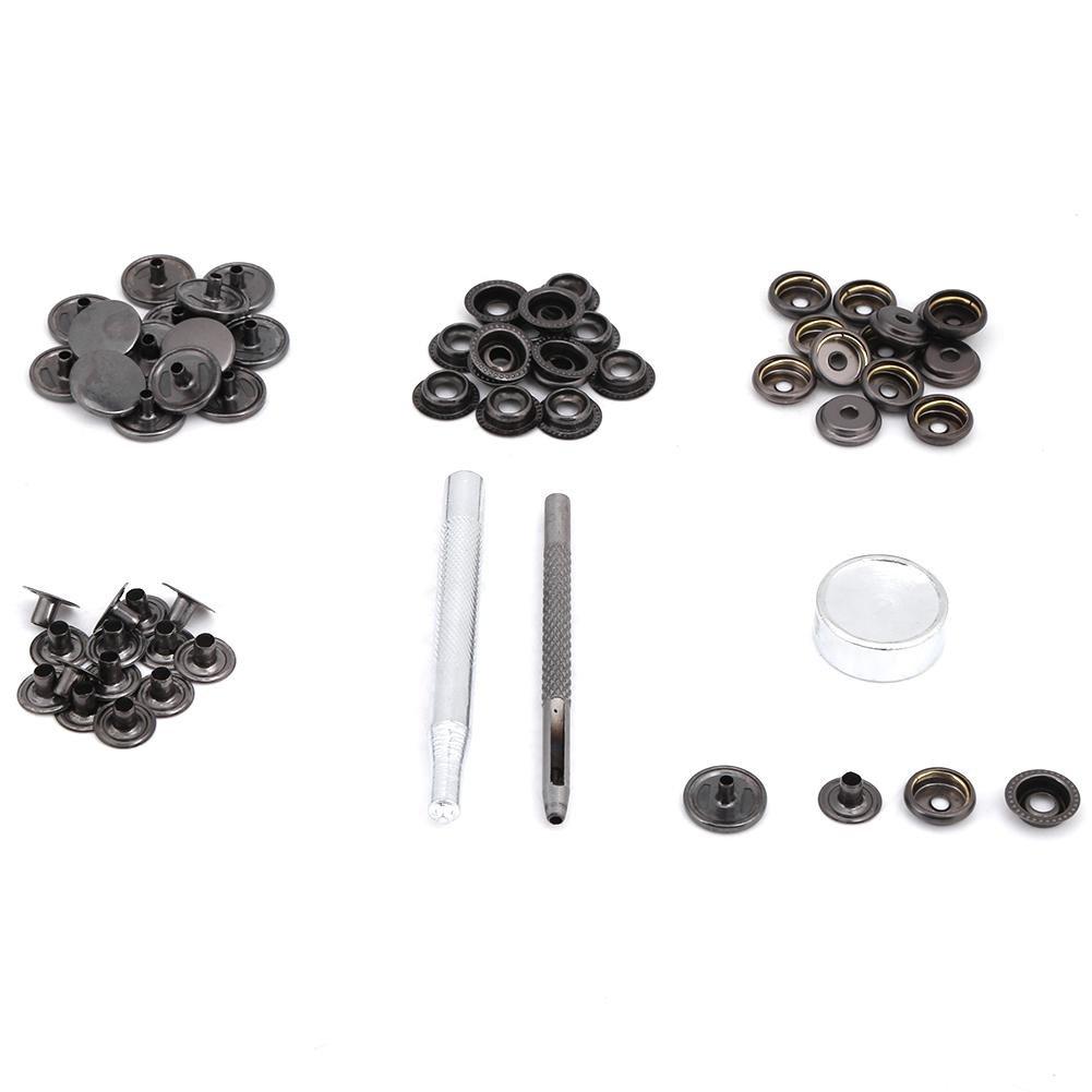 Akozon 15 set Metallo Premere Bottone a Pressione con Bottone a Scatto con Strumenti per i Vestiti Artigianali in Pelle 15mm(Argento)