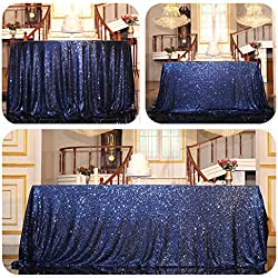 "PartyDelight Sequin Tablecloth, Wedding, Sweetheart, Christmas Tree, Rectangular, 48""x72"", Navy Blue"