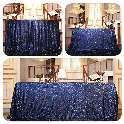 Light Blue Elegance Round Tablecloth (PartyDelight Sequin Tablecloth, Rectangular, 60