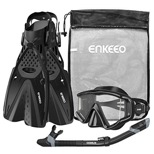 ENKEEO Scuba Diving Snorkeling Snorkel Set with Beveled Sides Design 3 Piece - Black, L/XL