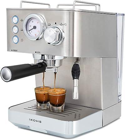 IKOHS Cafetera KAFFETA ESPRESS - Cafetera Espress Semiautomática para Espresso y Cappuccinos, Presión 20 Bares, Capacidad 1,25 L, 1100W, Vaporizador Orientable, Acabado Acero Inoxidable (Plateado): Amazon.es: Hogar