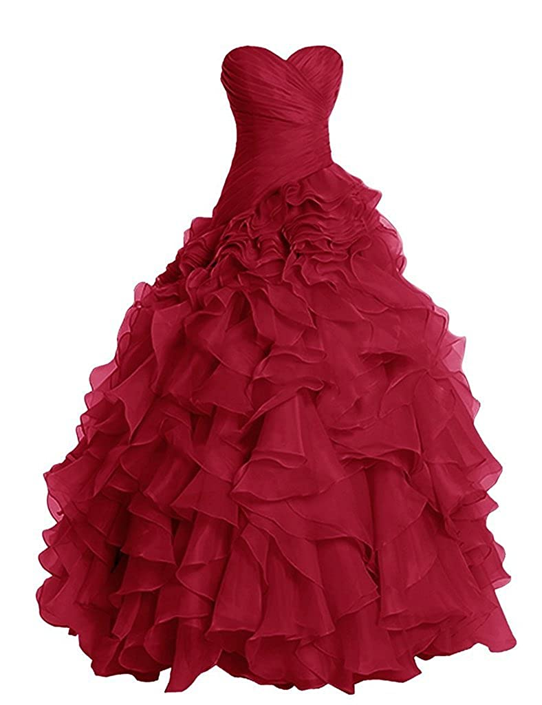 Dark Red APXPF Women's Long Ruffly Organza Formal Prom Dress Wedding Party Ball Gown