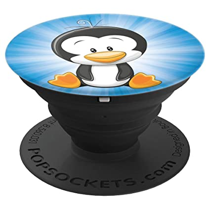 Amazon Com Cute Penguin Stuffed Animal On Blue Popsockets Grip For