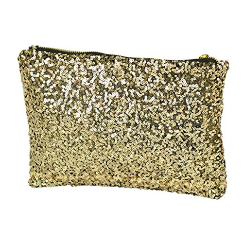 Women Shiny Sequins Dazzling Glitter Bling Evening Clutch Party Bag Handbag Gift - Silver / Black / Gold Gold