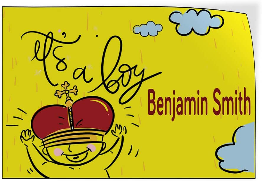 Custom Door Decals Vinyl Stickers Multiple Sizes Its A Boy Boy Name Yellow Lifestyle Its A Boy Outdoor Luggage /& Bumper Stickers for Cars Yellow 24X16Inches Set of 10