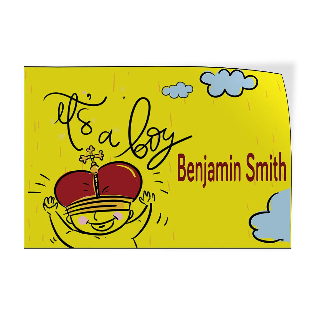 Custom Door Decals Vinyl Stickers Multiple Sizes Its A Boy Boy Name Yellow Lifestyle Its A Boy Outdoor Luggage /& Bumper Stickers for Cars Yellow 14X10Inches Set of 10