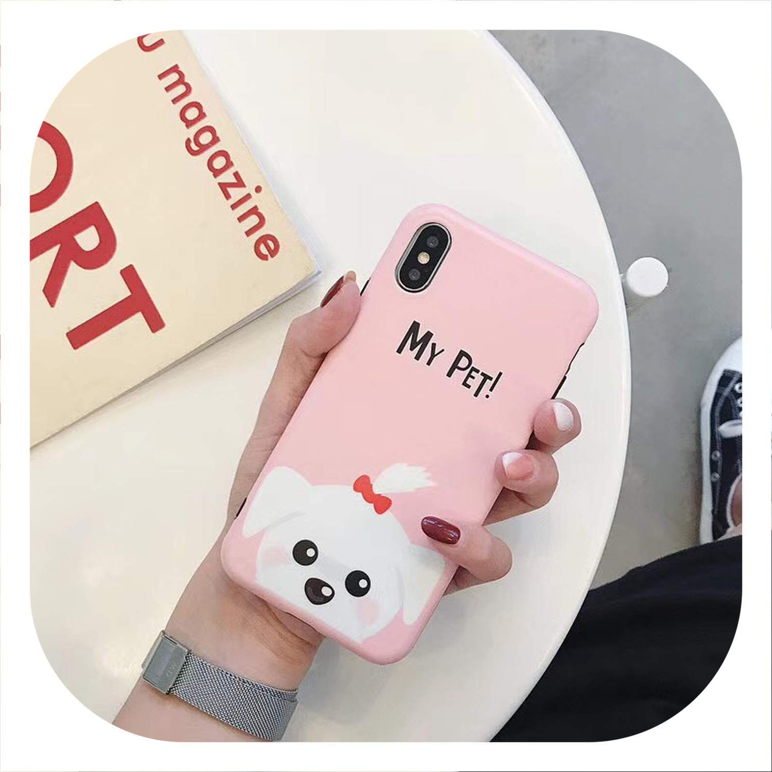 Cartoon Bull Dog Phone Cases for iPhone Xs MAX XR X Matte Soft TPU Case for iPhone 7 6s 6 8 Plus Cute Back Cover Shell Coque,style02,for 7Plus 8Plus