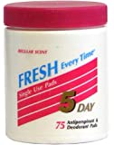5 Day Antiperspirant and Deodorant Pads Regular 75 Ea
