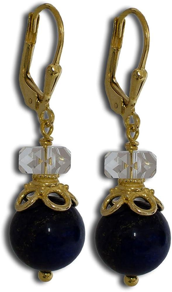 I de Be, cristal de roca lapislázuli piedras preciosas pendientes con corona 925plata dorado, longitud 3,8cm, en estuche de regalo, 382507s1129sg