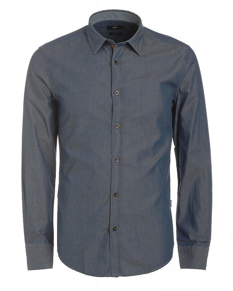 BOSS BLACK MEN - Camisa Casual - para Hombre Azul Small: Amazon.es ...
