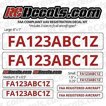 Amazon com: DRONE Registration Number FAA UAV UAS Decals for