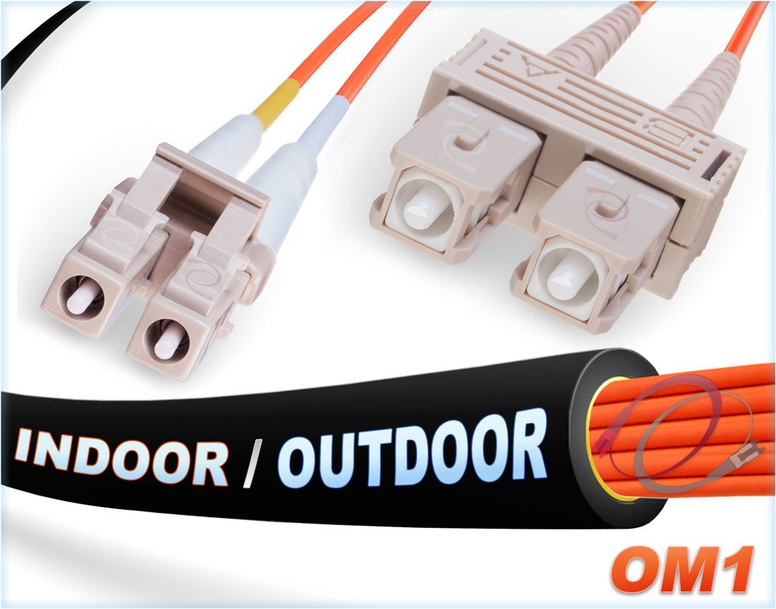 12M OM1 LC SC Fiber Patch Cable | Indoor/Outdoor Duplex 62.5/125 LC to SC Multimode Jumper 12 Meter (39.37ft) | Length Options: 0.5M-300M | FiberCablesDirect - Made In USA | mmf lc-sc patchcord otdr