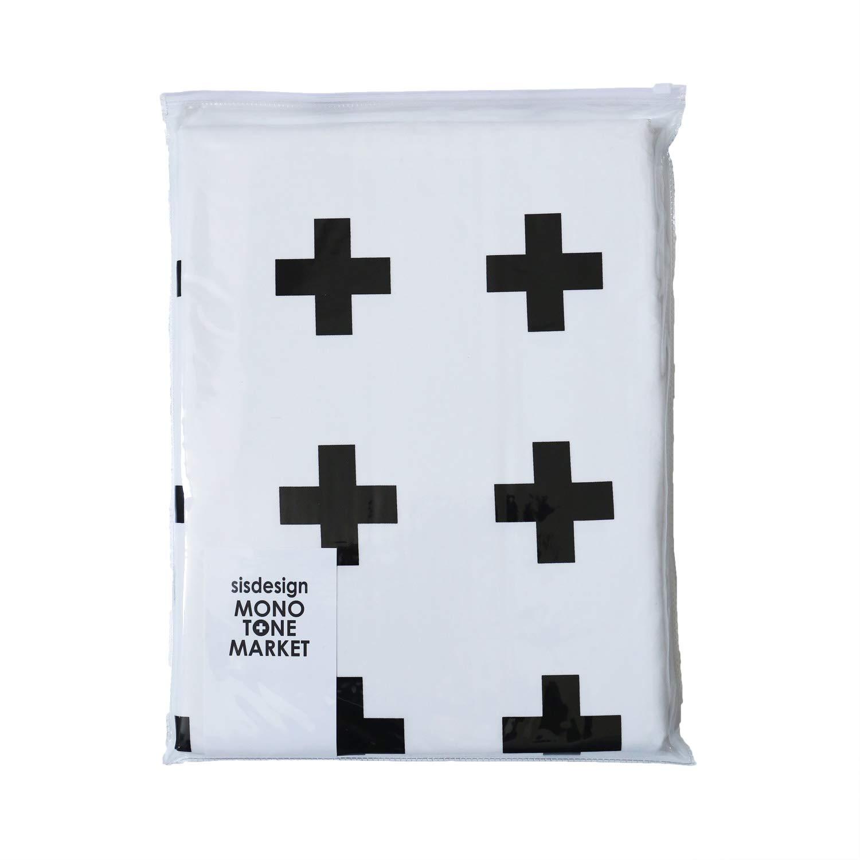 シスデザイン 布団カバー ホワイト クロス柄(ブラック) セミダブル 肌に優しく吸湿性発汗性に優れた綿を100%使用 170×210cm B071CMQ6HC