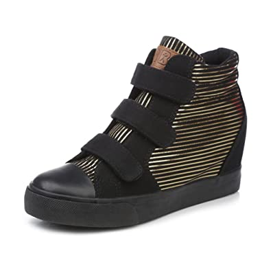 Invisible within the higher canvas shoes women/Spring Korean version of the thick crust high shoes/Velcro stripes lazy shoes singles/Shoes tide