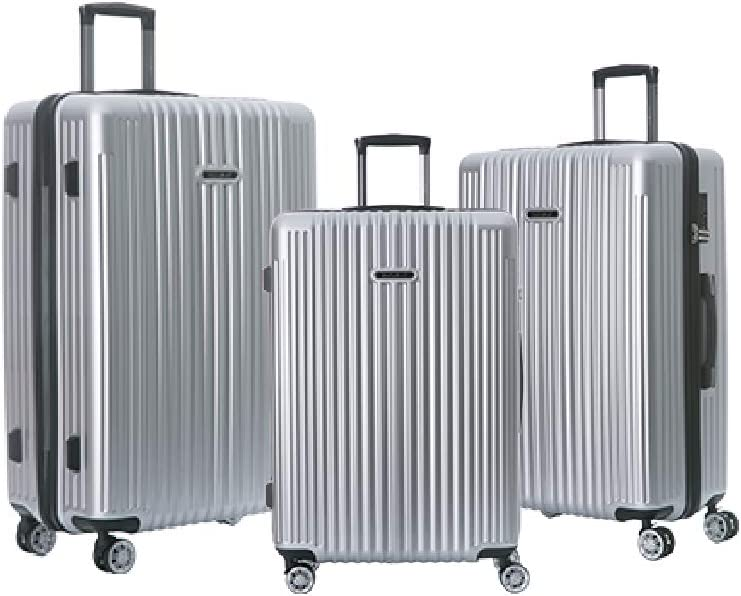 NaSaDen Hardshell Luggage Sets with Spinner Wheels Checked and Carry On Luggage Bamberg Silver 29 Inch 26 inch 22 Inch 3 Piece Set German Design TSA Lock ABS PC