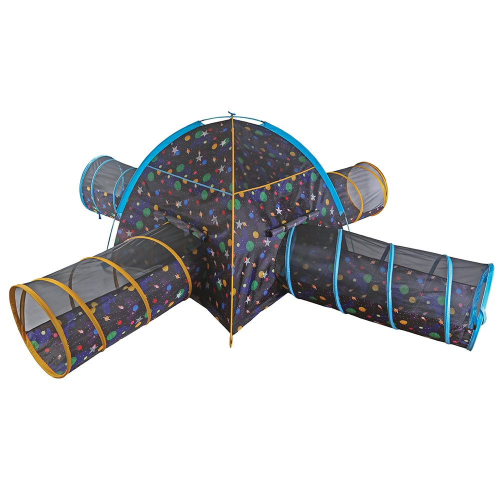 Pacific Play Tents Kids Galaxy Combo Dome Tent with 4 Tunnels - Glow in the Dark Stars