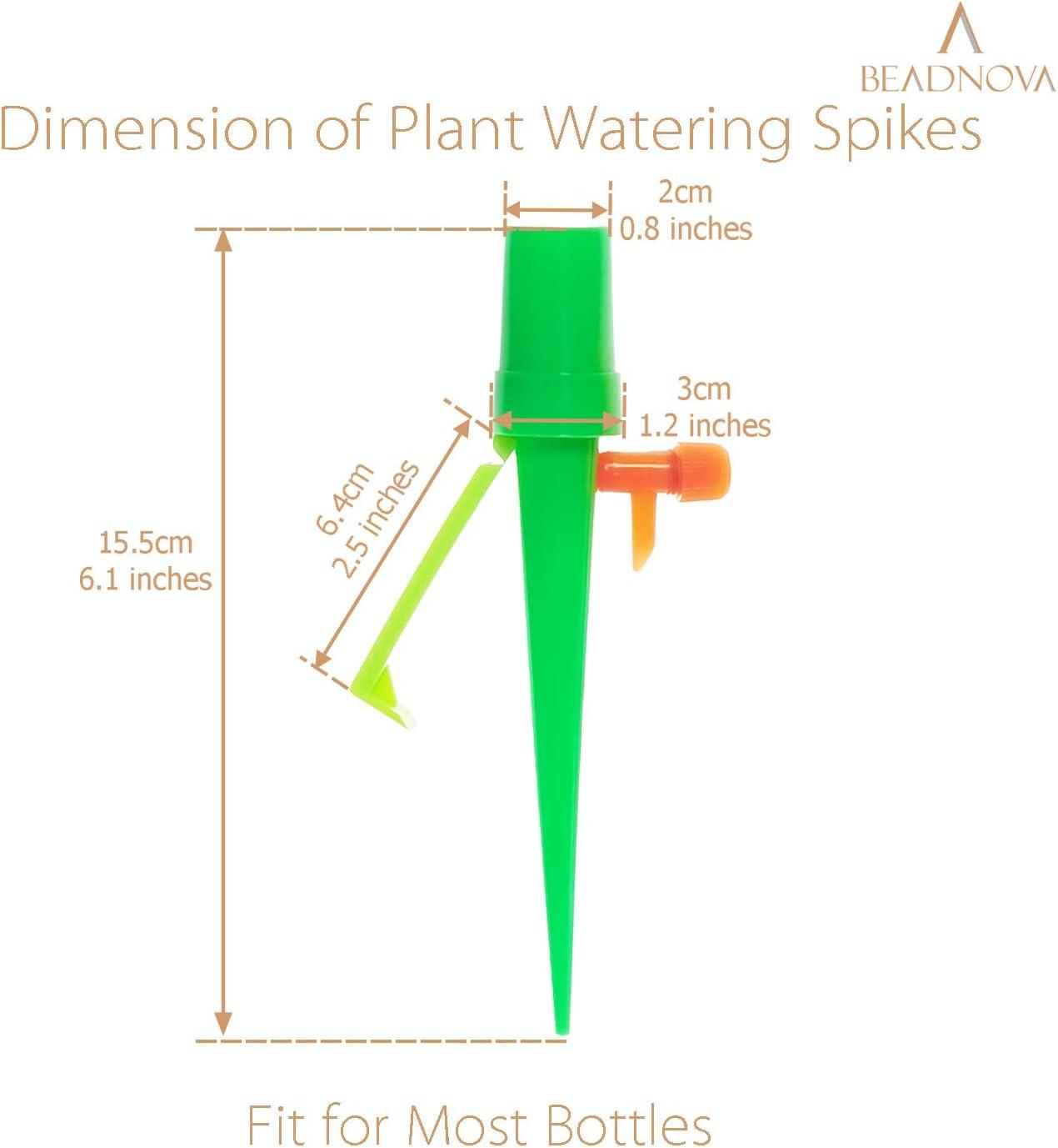 Orange Green, 6pcs BEADNOVA Plant Self Watering Spikes Automatic Irrigation Equipment Adjustable Self Watering Spikes for Plants with Slow Release Control Valve