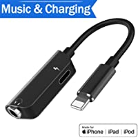 2 in 1 Headphone 3.5mm Jack Adapter Car Charge Cable Earbud Phone Assesories Splitter for iPhone 8 8Plus Conventer Headphone Jack Adapter for iPhone7 7Plus X with Audio Charging Support All iOS System