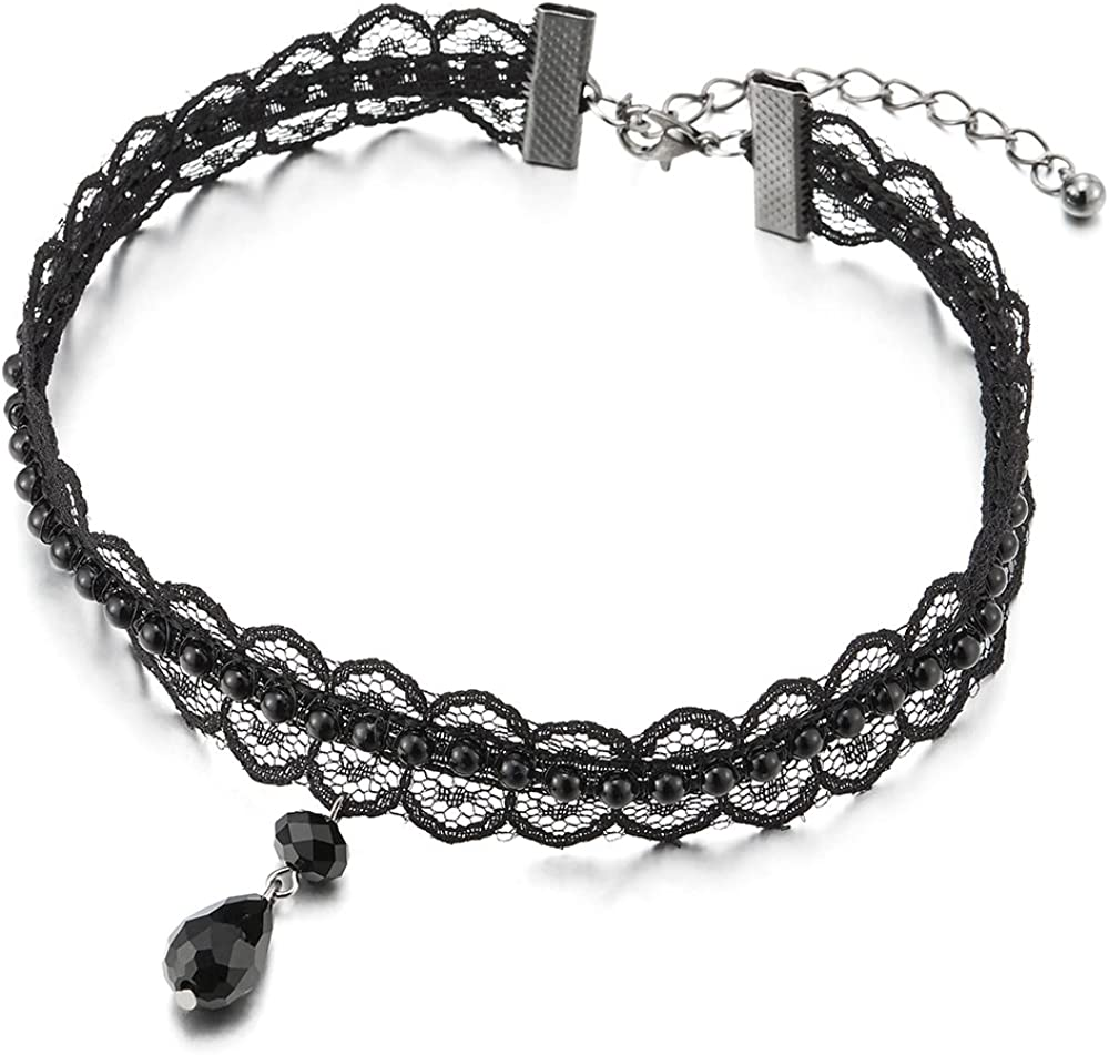 COOLSTEELANDBEYOND Gótico Victoriano Nostálgico Negro Perla Collar Gargantilla Choker Mujer, Lágrima Perla Negro Charm Colgante