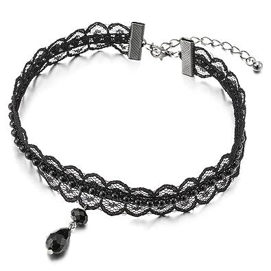 6f306e798494 COOLSTEELANDBEYOND Gótico Victoriano Nostálgico Negro Perla Collar  Gargantilla Choker Mujer