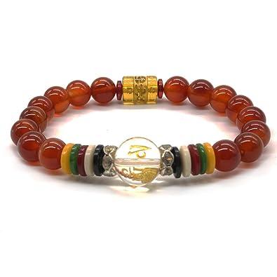 Pulsera budista de ágatas rojas naturales con abalorios mala de yoga y de rezo tibetano y piedra de chakra: Amazon.es: Joyería