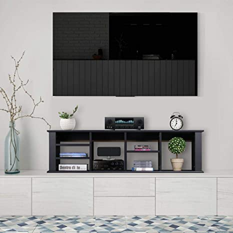 Miraculous Yaheetech Wall Mounted Tv Media Console For Living Room Office Floating Hutch Storage Cabinet Bookshelf Black Download Free Architecture Designs Rallybritishbridgeorg