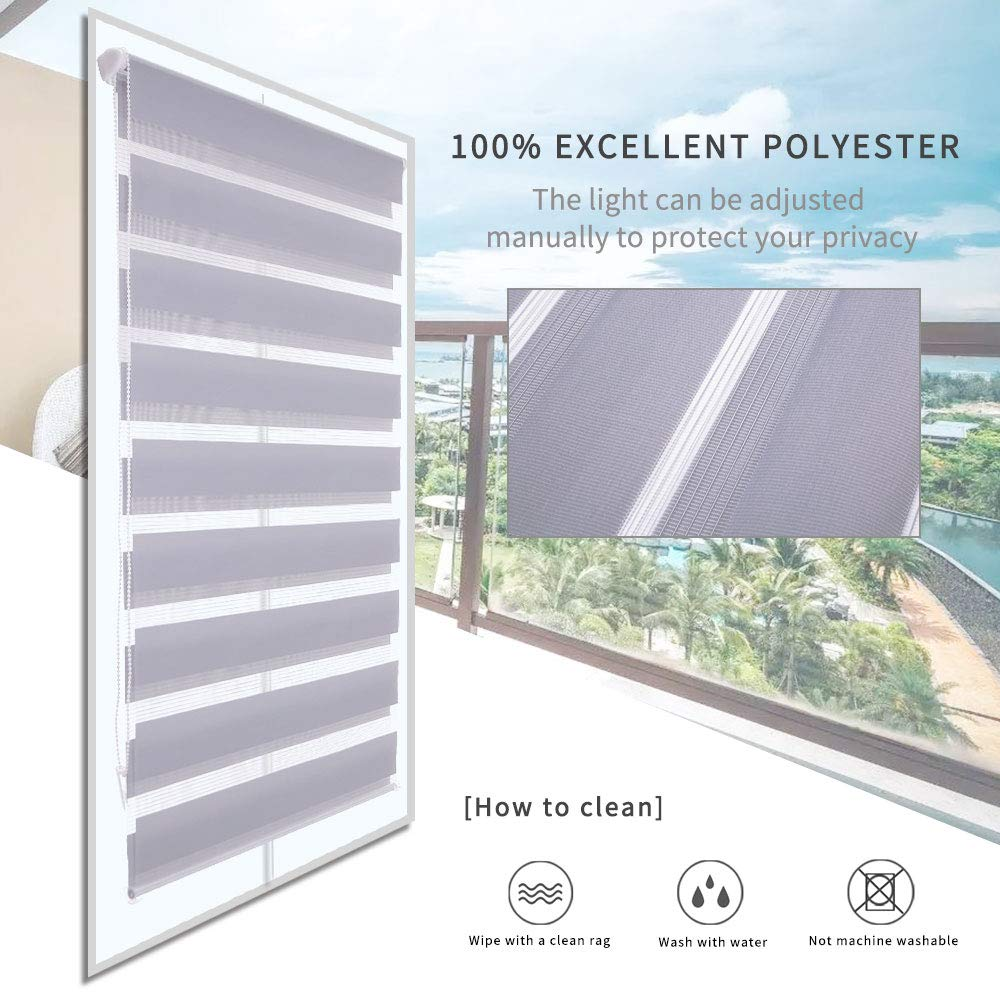 110CMx150CM, Grey LUCKUP Easy Fix Zebra Roller Blind,Day and Night Blinds Curtains with Install Accessories