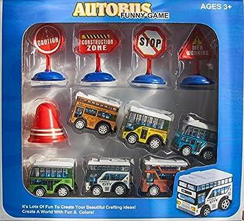 Großhandel & Sonderposten Spielzeug & Modellbau (Posten) 11 tlg Autobusset in Geschenkverpackung Friktionsantrieb Auto Bus Zubehör Box