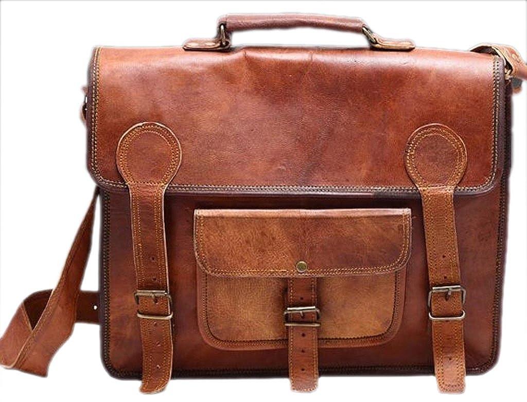Right Choice Genuine Leather Messenger bag Laptop bag Satchel College crossbody shoulder bag gift for men women 13X10X4 Brown