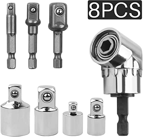 Right Angle Screwdriver Drill Set 8PCS Cordless Impact Grade Drill Hex Bit Socket Adapter Angle Extension Power Screwdriver Drill Attachment 1//4 3//8 1//2 Universal Socket Adapter Set