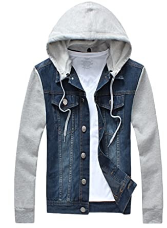 Denim hooded jacket men's amazon