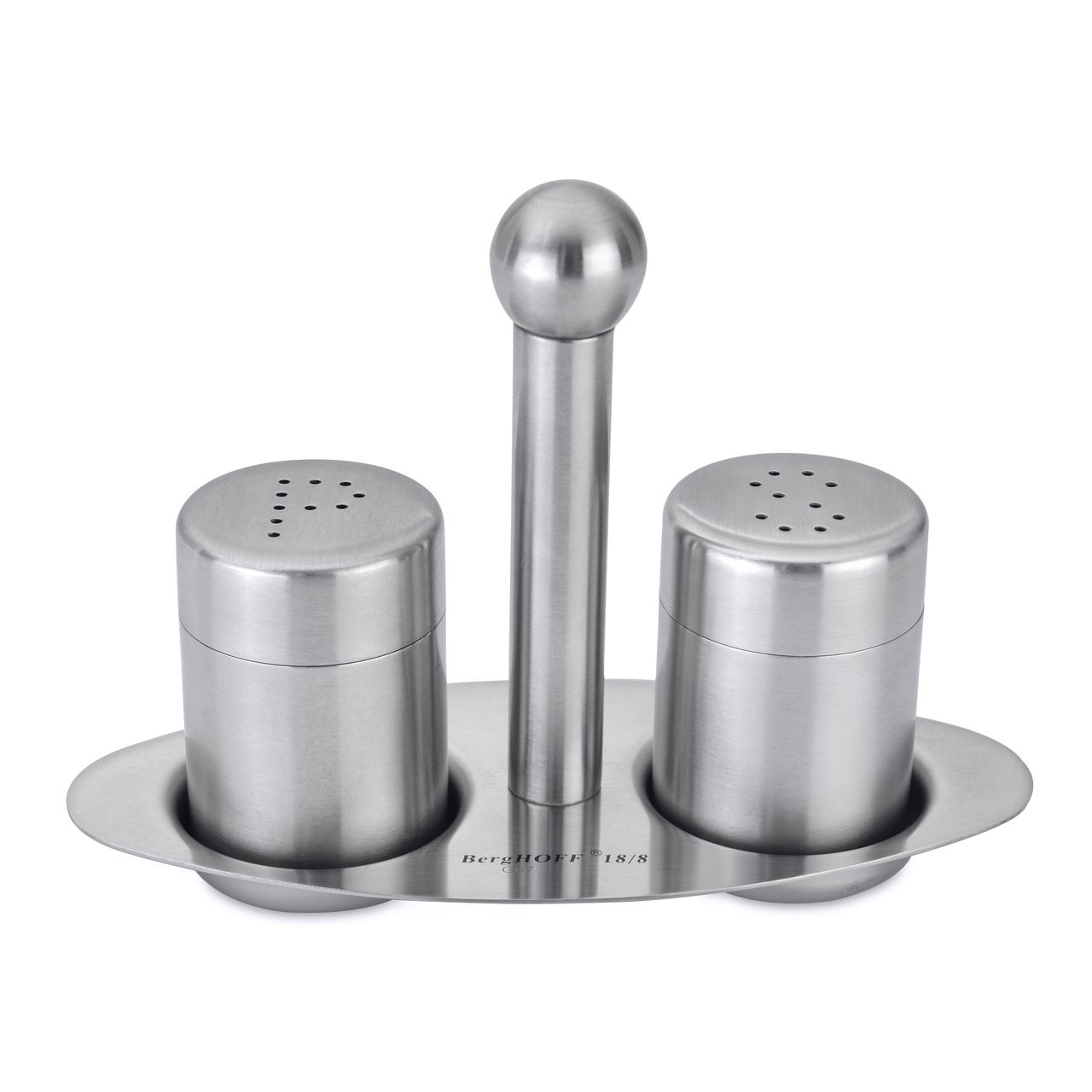 BergHOFF Classic Satin Finish Stainless Steel Cruet Set with Stand, Silver, 3-Piece 1106298A
