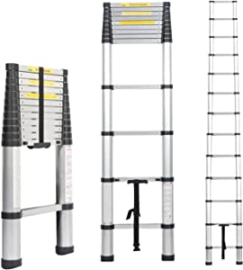 SogesPower 8.5ft Premium Aluminum Telescopic Extension Ladder, Non-Slip Extendable Ladder for for Indoor Outdoor Work, 330 lbs Capacity