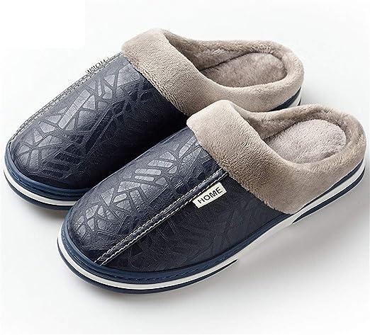 XXZZ Zapatillas de Hombre PU Impermeable Terciopelo Memoria ...