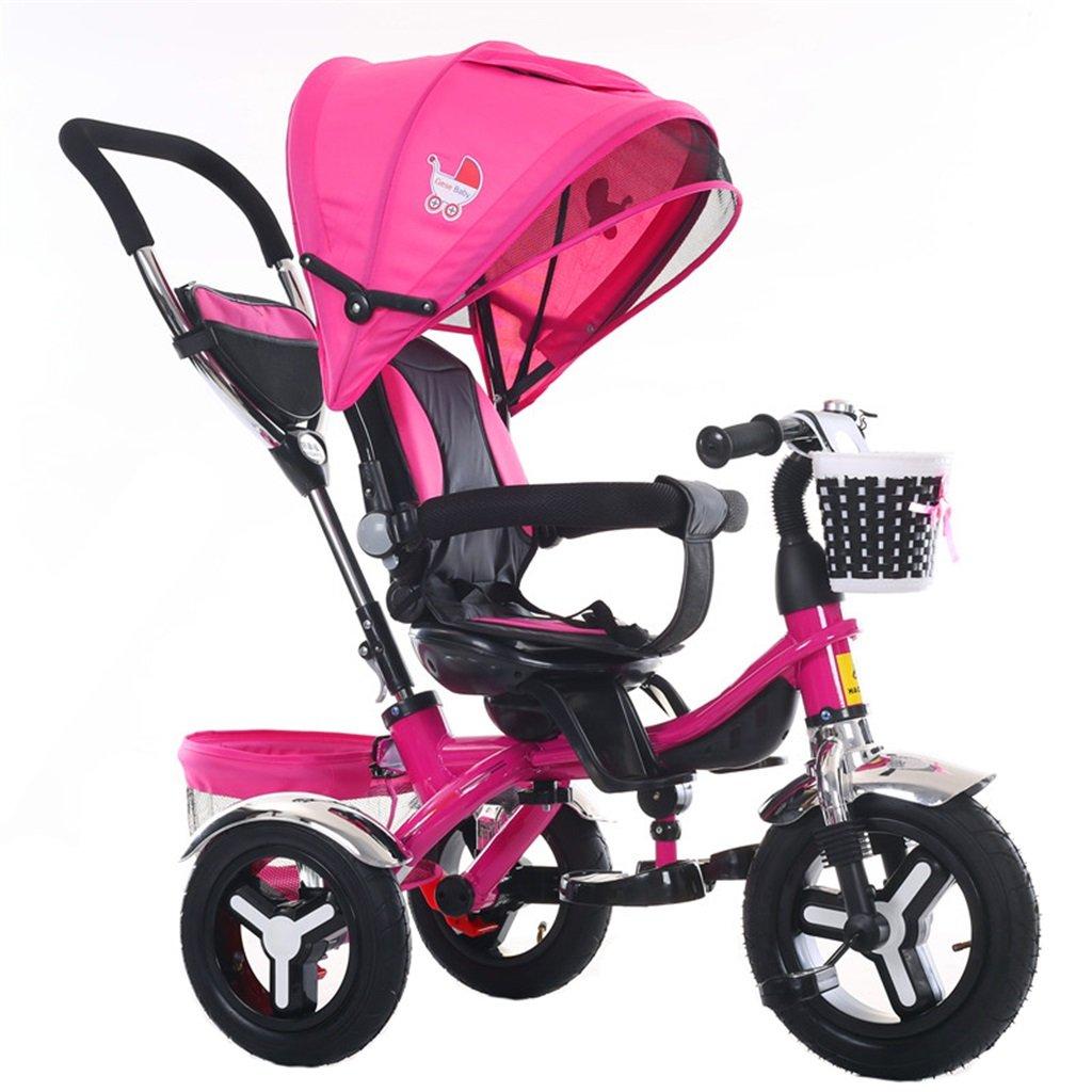 KANGR-子ども用自転車 多機能4-in-1折りたたみ式子供用三輪車キッドトロリープッシュハンドルステーラー自転車、アンチUV日よけ| 1-3-6歳の少年少女と赤ちゃんのおもちゃ|ロータリー席| |ブレーキ付きインフレータブルラバー3輪バイク ( 色 : ローズレッド ) B07BTW9KDD ローズレッド ローズレッド