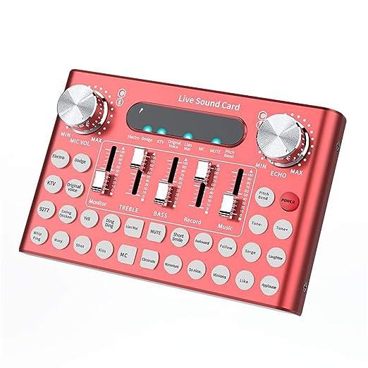QLPP Tarjeta de Sonido Profesional Micrófono Voz Música Audio ...