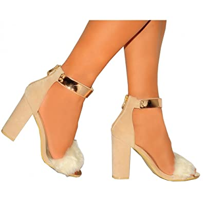 ffe81b5f482 Ladies Womens Nude Faux Fur Gold Metal Ankle Strap Strappy Sandals High  Heels Shoes 3-